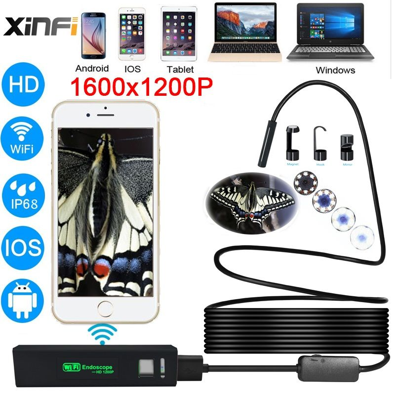 XIFICAM Wifi Endoscope 8mm 1200P HD for Android iOS iphone Soft Cable Wire pipe camera Snake Camera car <font><b>inspection</b></font> endoscopic