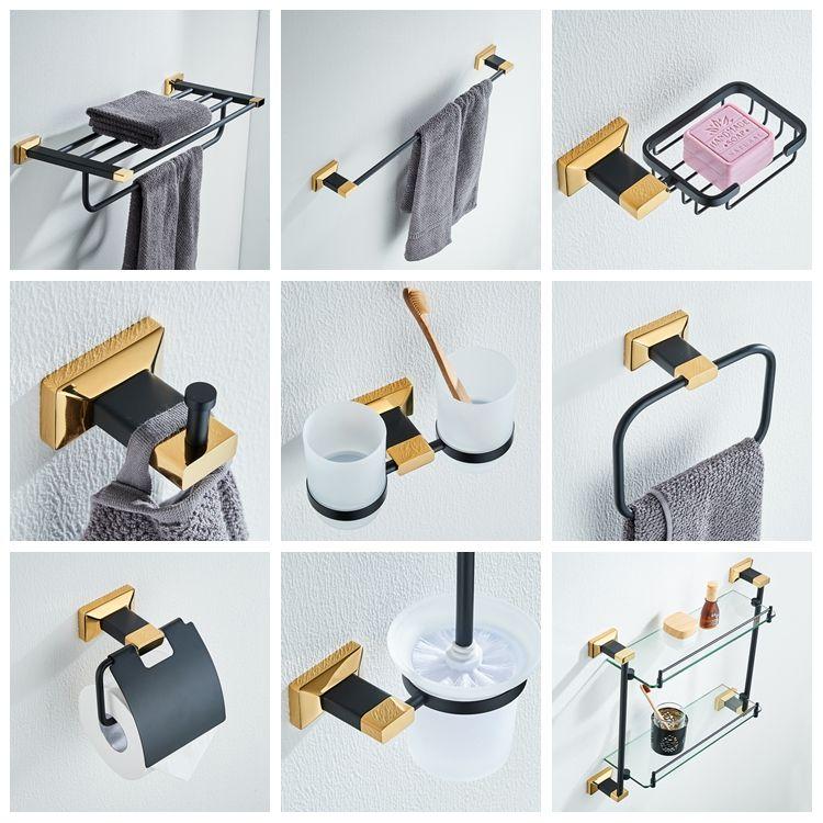 New Copper Black Bronze & Gold High-end Bathroom Accessories Pendant Towel Rack Racks Towel Rack Bathroom Set YM119