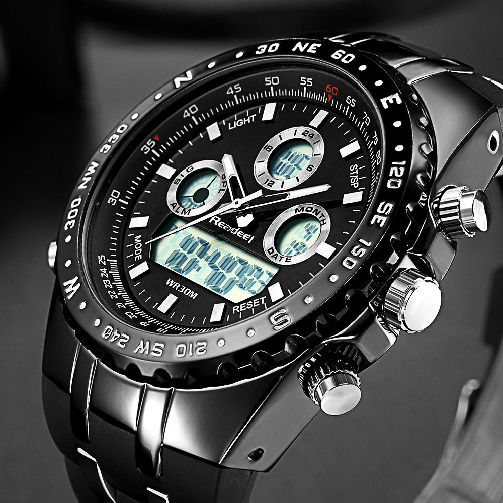 Readeel Top Brand Sport Quartz Wrist Watch Men Military Waterproof Watches <font><b>LED</b></font> Digital Watches Men Quartz Wristwatch Clock Male