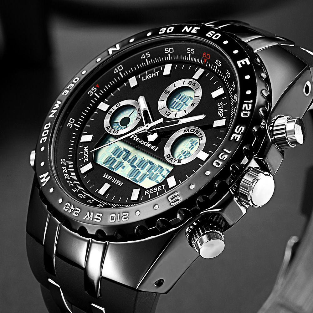 Readeel Top Brand Sport Quartz Wrist Watch <font><b>Men</b></font> Military Waterproof Watches LED Digital Watches <font><b>Men</b></font> Quartz Wristwatch Clock Male
