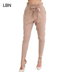 2017 Nouvelle Marque de Haute Taille Élastique Harem Pantalon Femmes Printemps Été Mode Neuvième Pantalon Bureau Femme Lady Noir Pantalon Ceinture