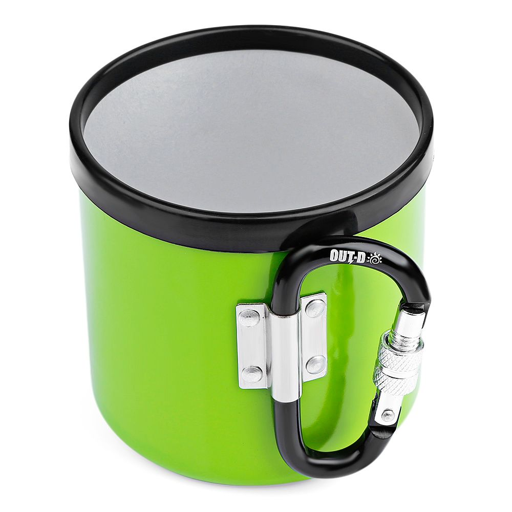 OUT - D AM - 400 Outdoor 400ML Cup Portable Camping Picnic Aluminum Mug with Foldable Handle