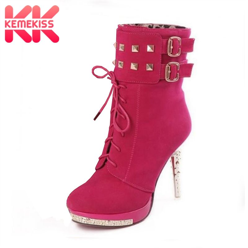KemeKiss woman p483 high heel quality leather <font><b>uppers</b></font> stylish lady's dress casual shoes women's ankle boots size 34-39