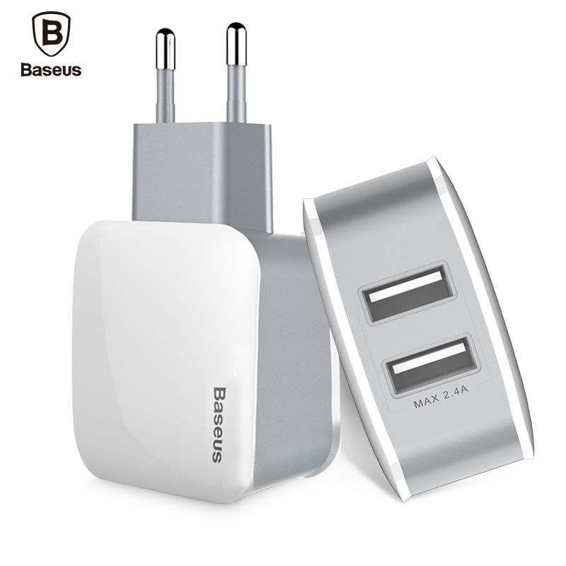 Baseus Universal Dual USB Travel Wall Phone Charger Adapter 2.4A EU US Plug Mobile Phone Charger For iPhone Samsung Tablet