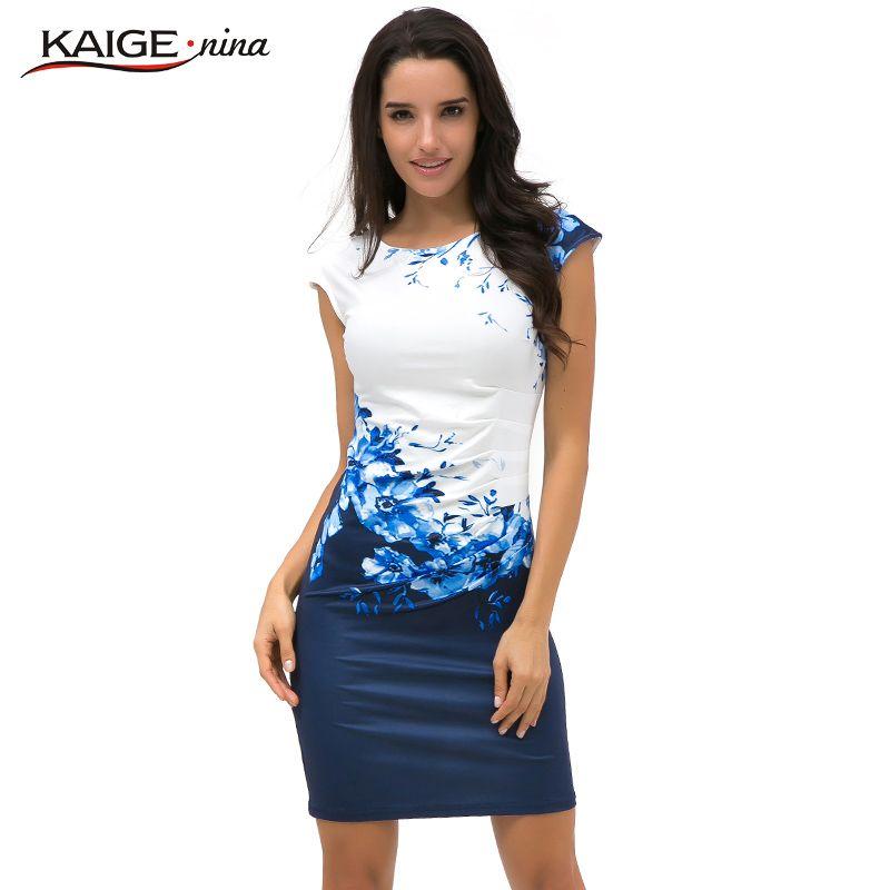 2017 Kaige Nina robe femmes moulante robe grande taille femmes vêtements chic élégant sexy mode o-cou imprimer robes 9026