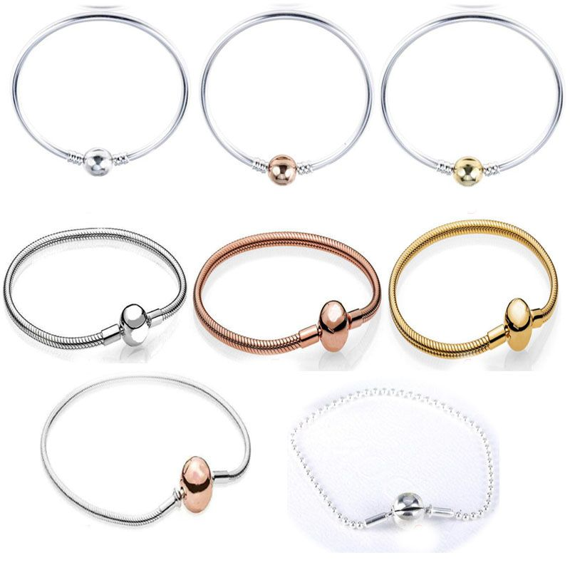 100% authentic 925 Sterling Silver snake bracelet beads chain FOR thin 2mm european Original Bracelet for Women Jewelry Gift