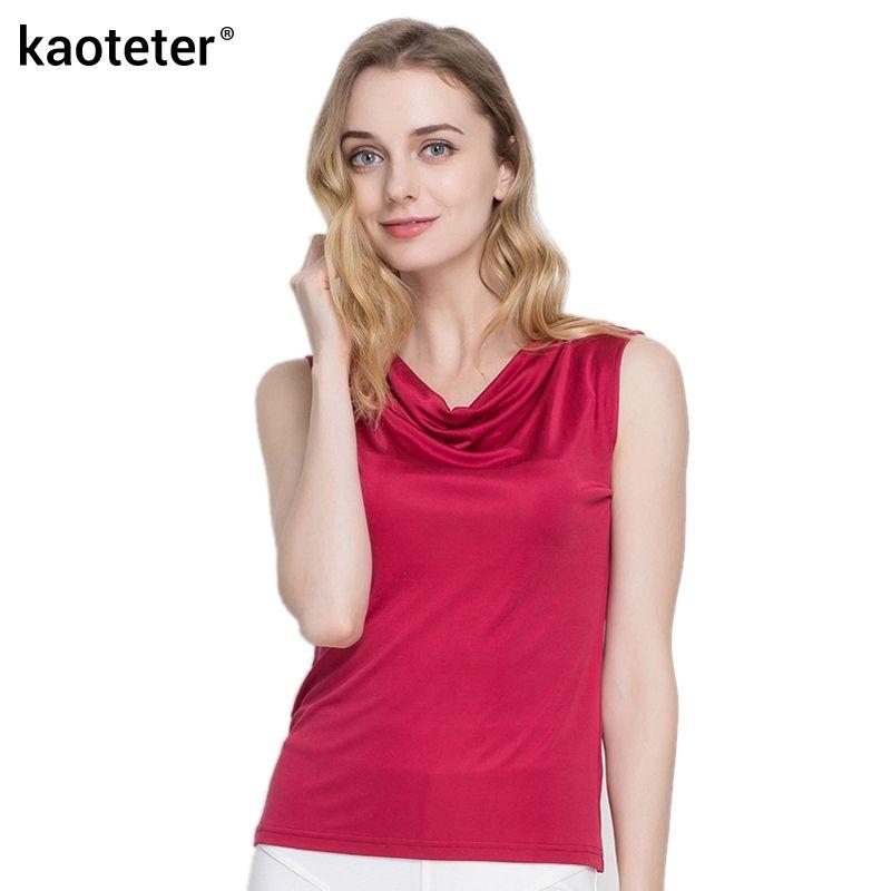 100% réel soie femmes réservoir hauts Femme sans manches couleur bonbon femmes t-shirts solide base sauvage modèle Femme chemise haute pour Femme