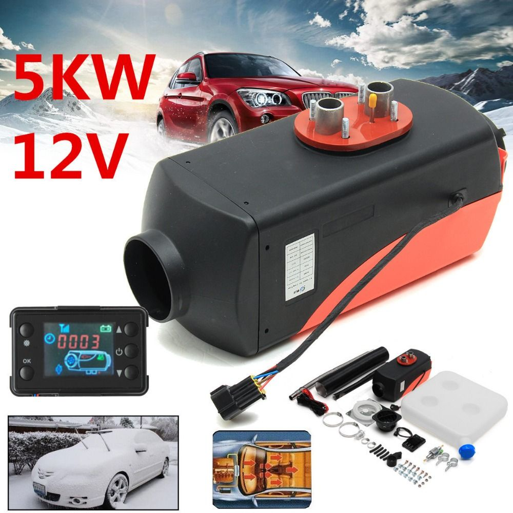 12V 5000W LCD Monitor Air diesels Fuel Heater Single Hole 5KW For Trucks Boats Bus Car Heater