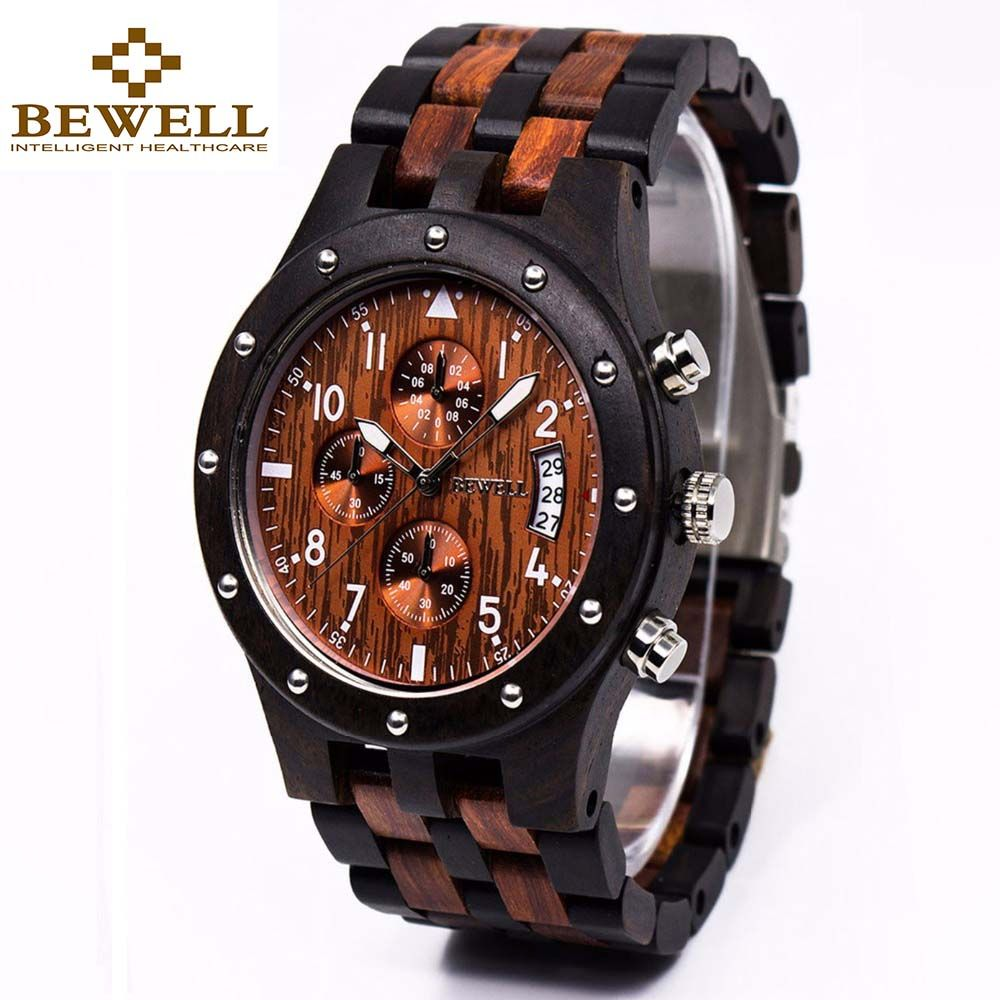 BEWELL Wooden Men's Watch Luxury Brand Quartz Wrist Moment Watches With Complete <font><b>Calendar</b></font> Time dropship supplier 109D
