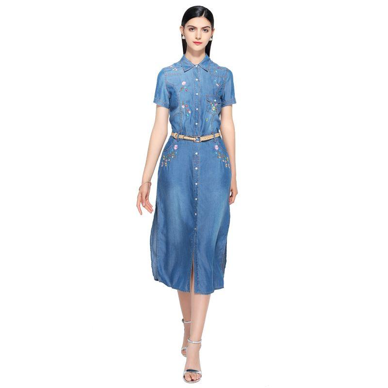 Nouveau été décontracté broderie robe femmes élégant col claudine à manches courtes denim robes vestidos de verano femmes vêtements 2019