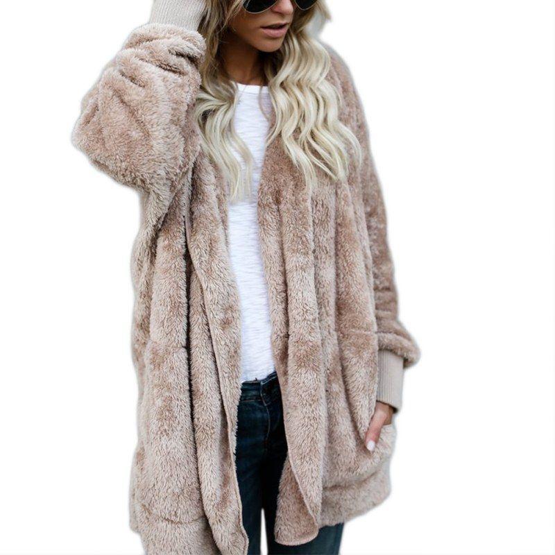 Warm Winter Women Coats Long Sleeve Hooded Hairy Bat Open Stitch Jacket Coats Female Imitation Fur clothes
