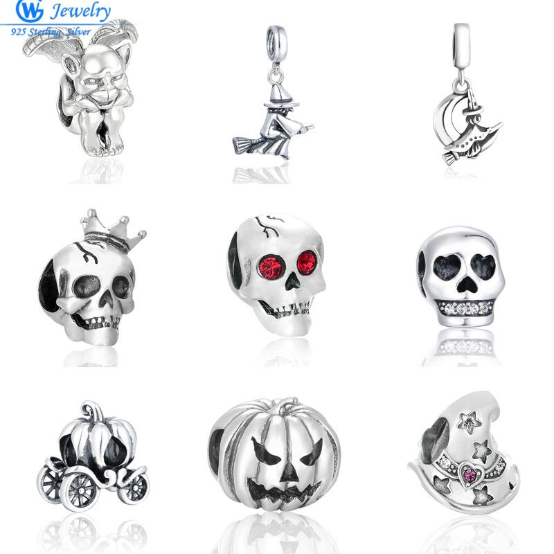 100% 925 Sterling Silver Special Skull Beads Fit Pandora Charms Original Bracelet S925 Fashion Jewelry Halloween  Gifts