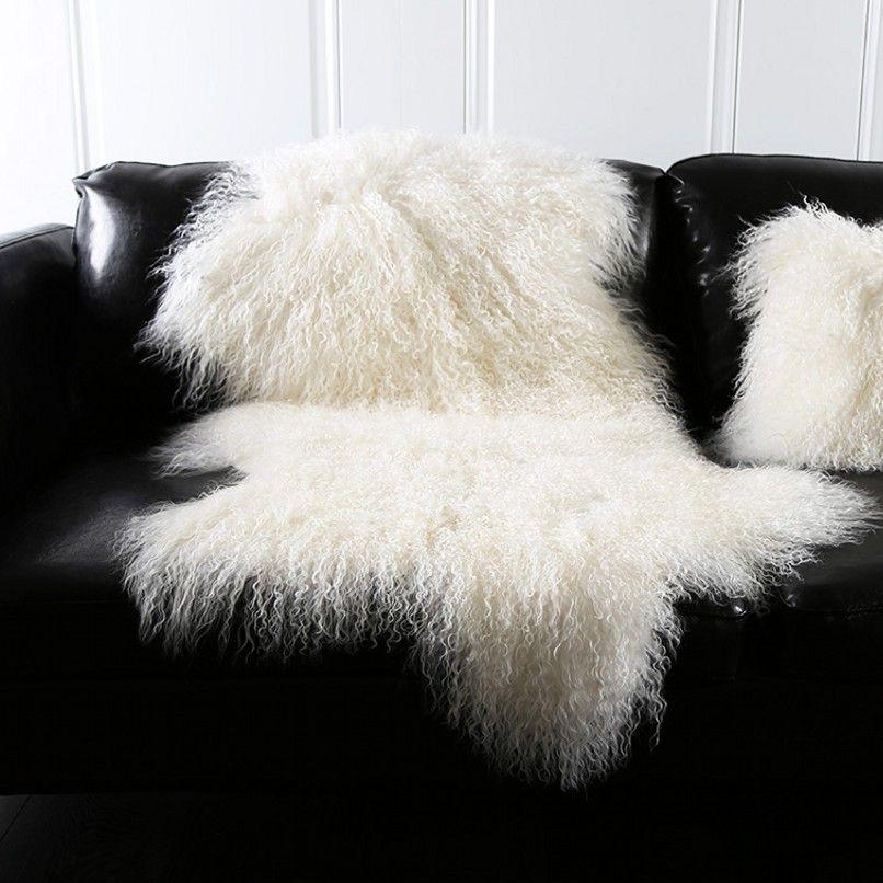 Natural white Mongolian sheep skin ground mat90*50cm genuine Tibet free cut shape sheepskin rug , decoration fur carpet
