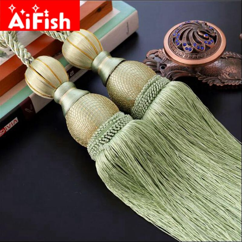 2 Piece/ Pair Luxury Home Decoration curtain <font><b>clips</b></font> accessories Hanging Belt Ball curtain strap tassel tieback Buckle CP063-20