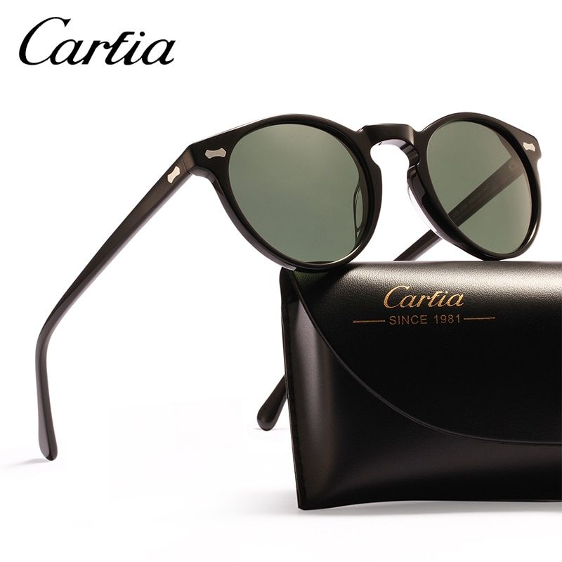 Carfia Polarized Vintage Sunglasses Classical Brand Designer Gregory Peck Round Sunglasses Men Women Sun Glasses 100% UV400 5288