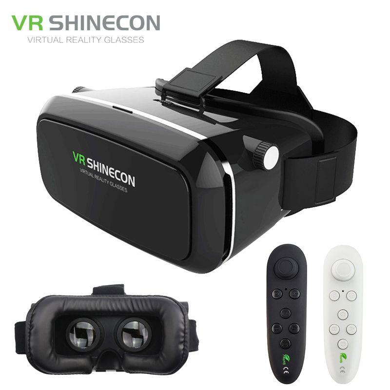 Original VR Shinecon Lunettes 3D Pro Réalité Virtuelle VR Google Carton Casque Tête Montage pour Smartphone 4-6» + À Distance contrôle