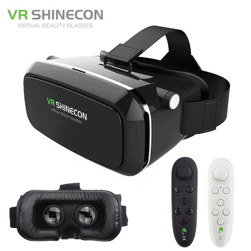 VR Shinecon Pro Virtual Reality 3D Glasses VR Google Cardboard Headset Head Mount for Smartphone 4-6' + Remote Control