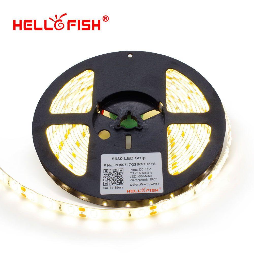 Hello рыбы 5 м 5630 300 SMD светодиодный полосы, ip65 Водонепроницаемый, 12 В гибкая 60 светодиодный/m светодиодный ленты, белый/теплый белый