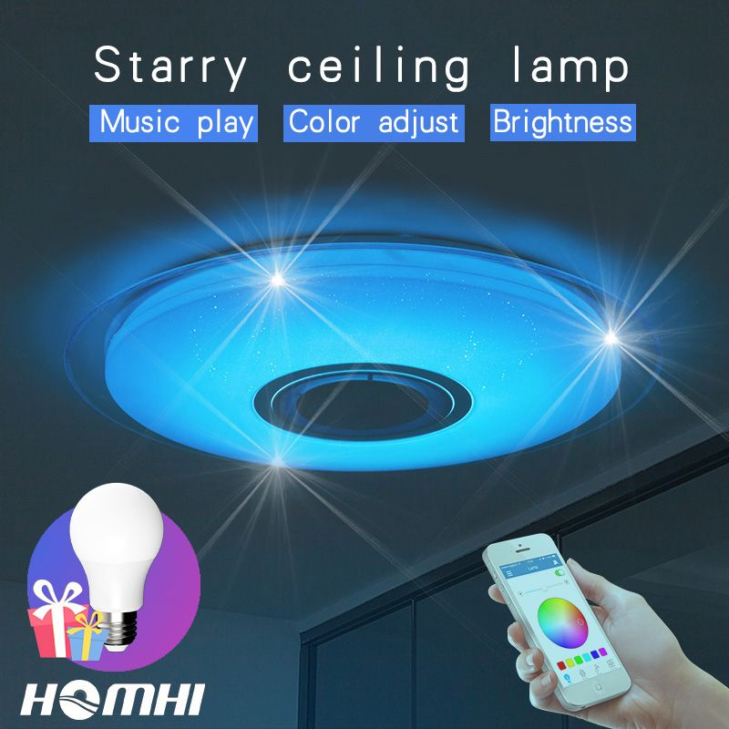 Phone control Music ceiling lamp Dimmable 36w Living room bedroom modern for home <font><b>children</b></font> bluetooth speaker lighting Fixture