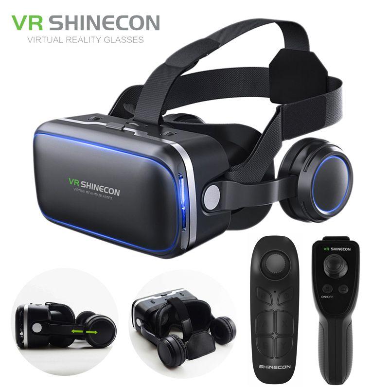 Виртуальной реальности смартфон 3D Очки VR гарнитура shinecon 6.0 стерео шлем поле VR гарнитура с Дистанционное управление для IOS Android