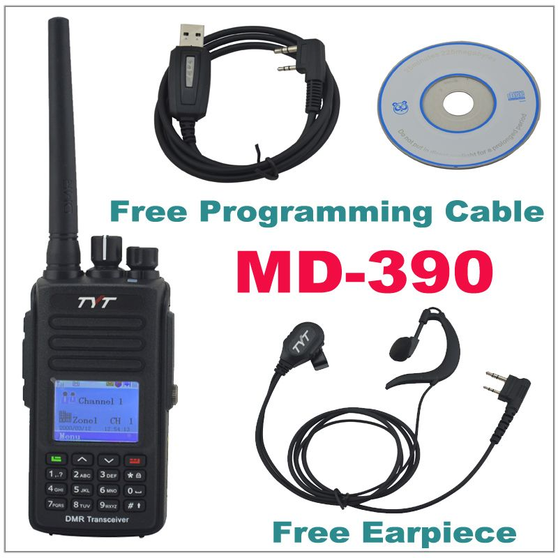 TYT MD-390 DMR Walkie Talkie MD390 UHF400-480MHz GPS Two Way Radio IP67 Waterproof Transceiver+ Programming cable CD& Earpiece