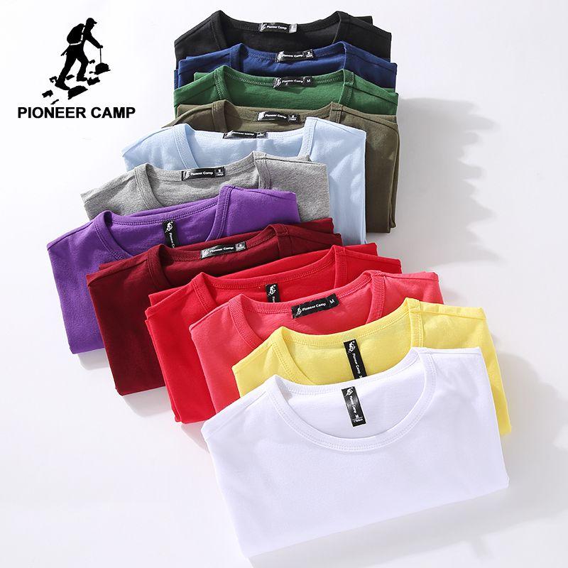 Pioneer Camp drop shipping t-shirt hommes d'été 100% coton solide t-shirt hommes occasionnels t-shirt homme à manches courtes plus la taille 4XL