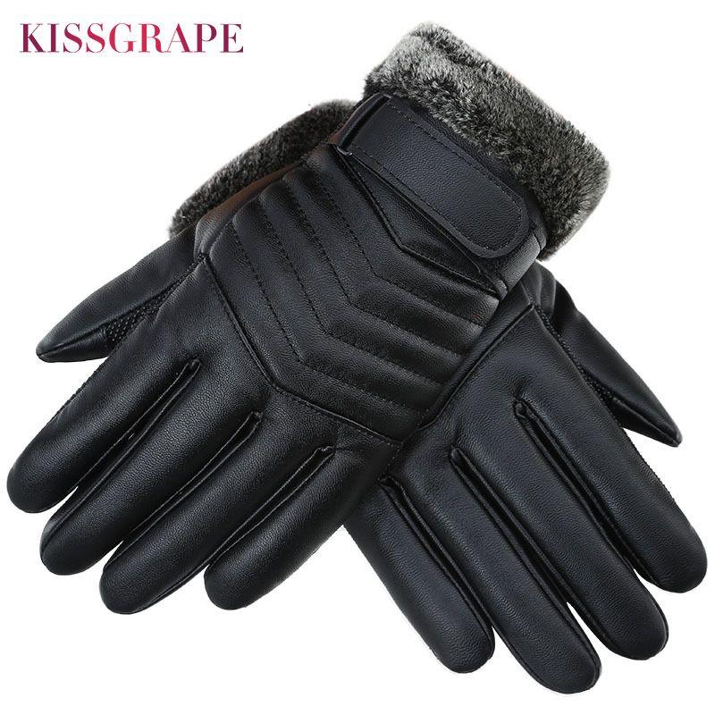 2017 Winter Touchscreen Wasserdicht Pu-leder herren Warme Handschuhe Verdicken Fleece Outdoor Sport Ski-handschuhe Männlichen Motor Guantes