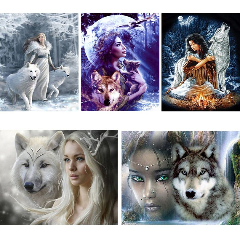 Full Square Diamond 5D DIY Diamond Painting Wolf And Beauty Girl Embroidery Cross Stitch Rhinestone Mosaic Painting Home Decor
