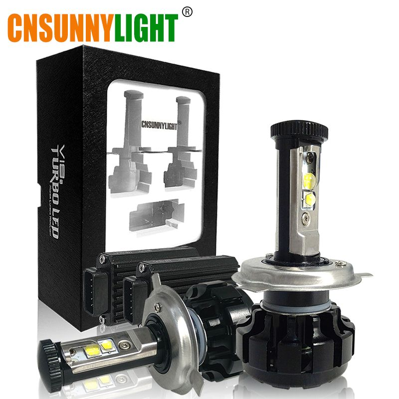 CNSUNNYLIGHT Super Bright Car LED Headlight Kit H4 H13 9007 Hi/Lo H7 H11 9005 9006 w/ XHP50 Chips Replacement Bulbs 3000K 4300K