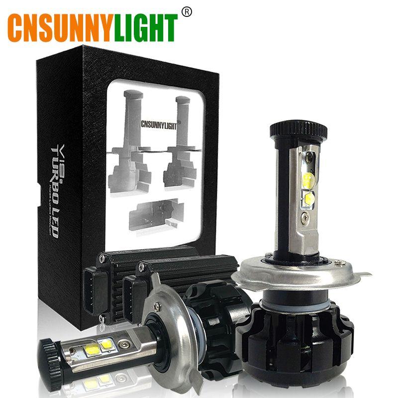 CNSUNNYLIGHT Super <font><b>Bright</b></font> Car LED Headlight Kit H4 H13 9007 Hi/Lo H7 H11 9005 9006 w/ XHP50 Chips Replacement Bulbs 3000K 4300K