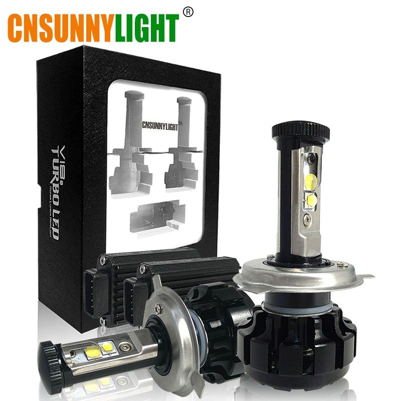 CNSUNNYLIGHT <font><b>Super</b></font> Bright Car LED Headlight Kit H4 H13 9007 Hi/Lo H7 H11 9005 9006 w/ XHP50 Chips Replacement Bulbs 3000K 4300K