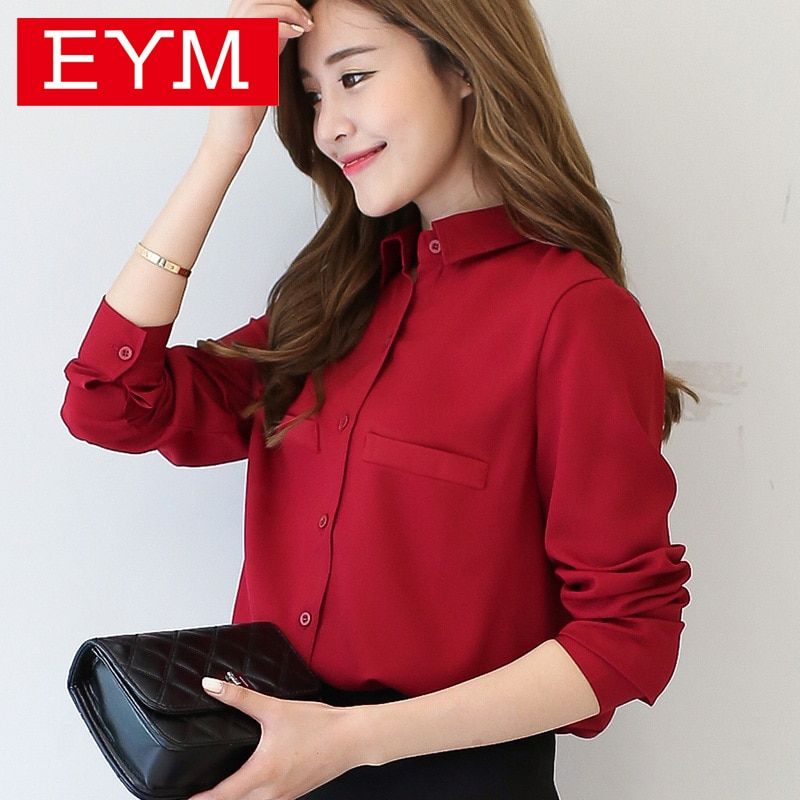 Brand Women Blouse 2018 New Casual Women's Long Sleeved Solid Shirt Plus Size Blouses Ladies <font><b>Office</b></font> OL Style Shirts Blusas