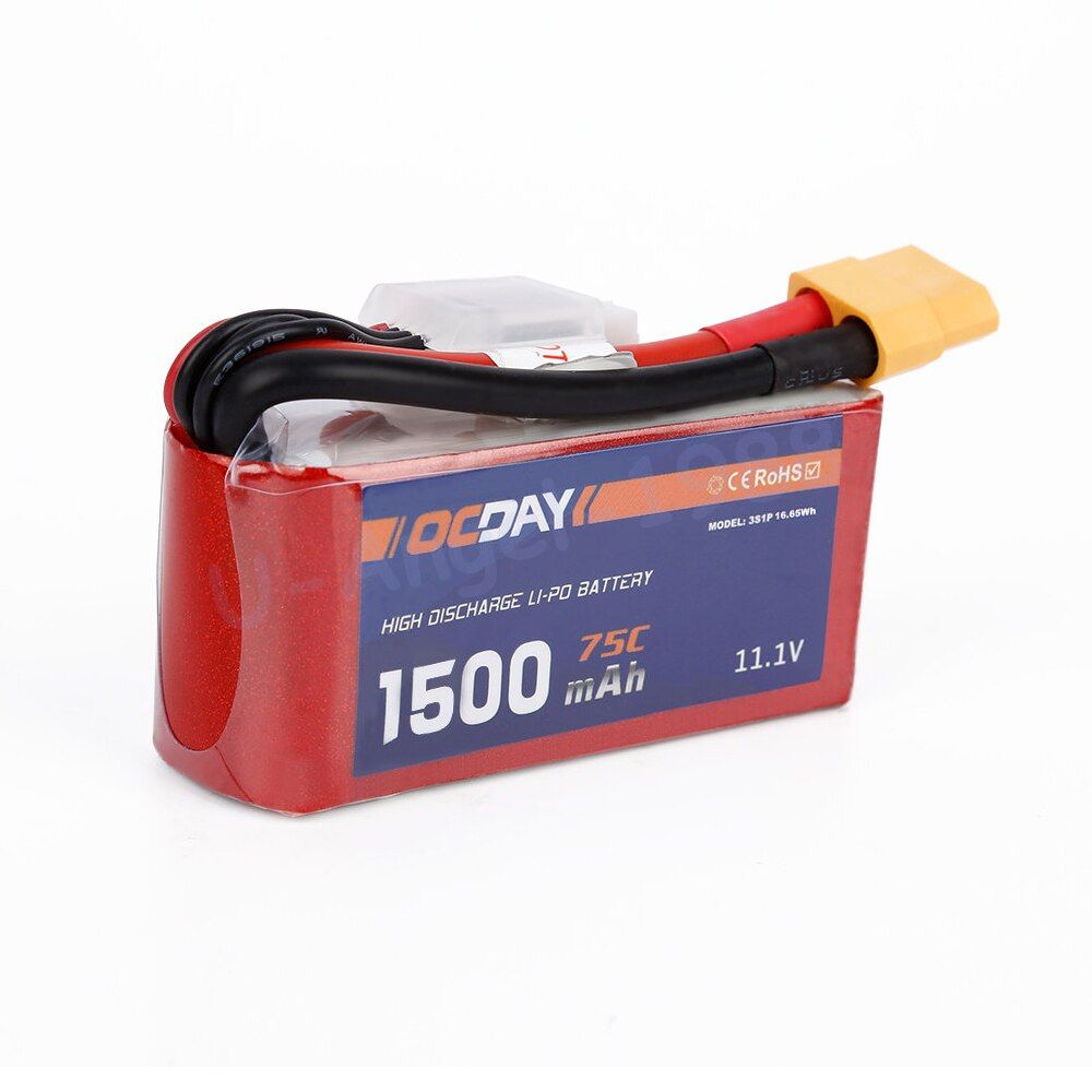 Wholesale 1pcs OCDAY 11.1V 14.8V 1300mAh 1500mah 1800mah 75C Lipo Battery XT60 Plug for 150-280 Raing Quacopter