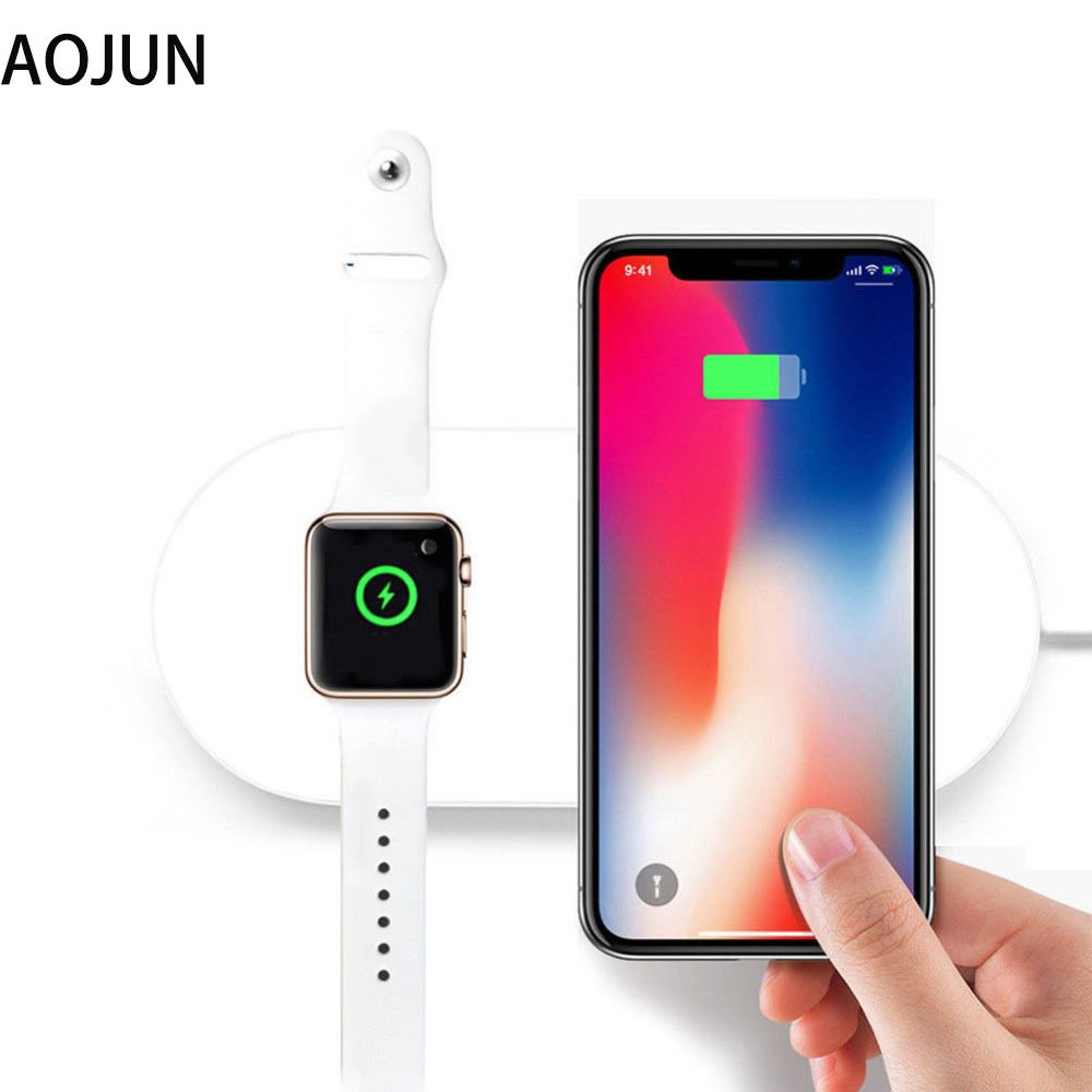 2 in 1 Fast Wireless Charging For iPhone X 8 Samsung Note 8 S8 Plus S7Edge Qi Wireless Charger For Apple Watch 3 2 38MM 42MM