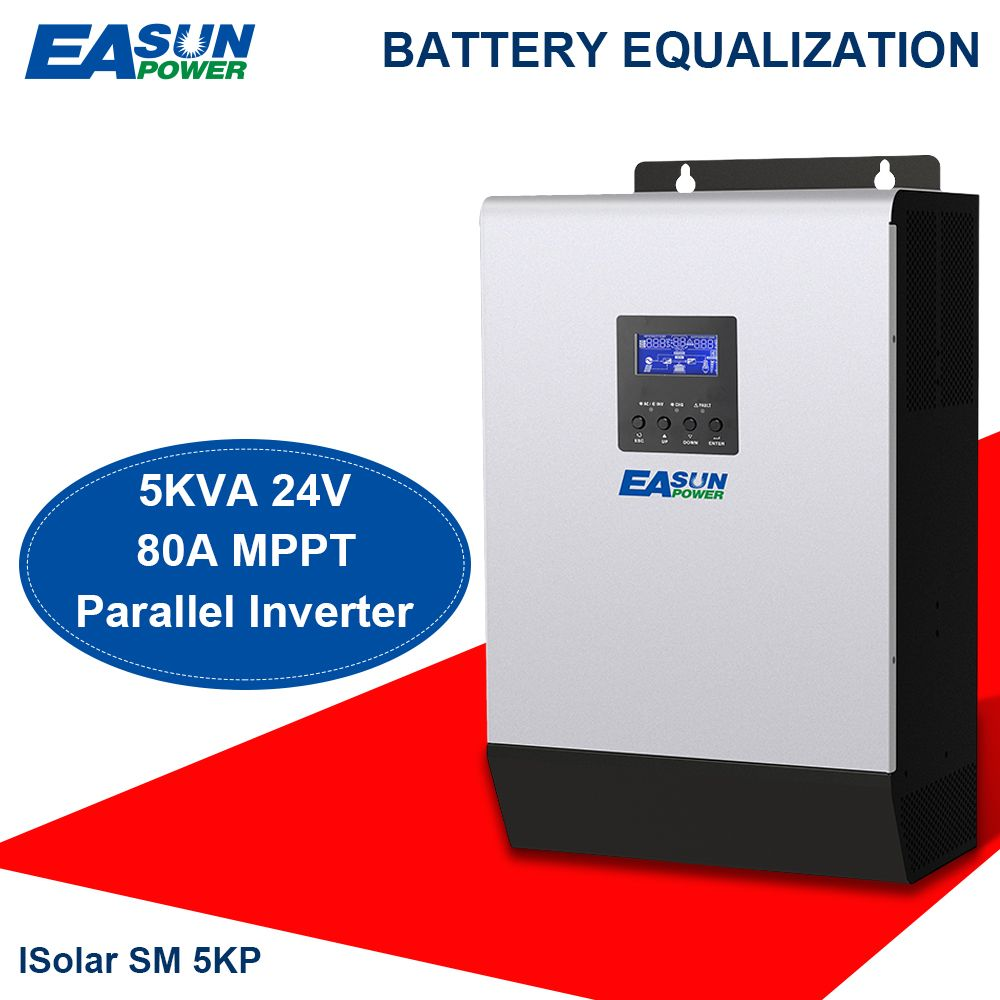 EASUN POWER 24V Solar Inverter 4000W 5Kva 80A MPPT Parallel Inverter 220V Pure Sine Wave Inverter Charger 60A Battery Charger