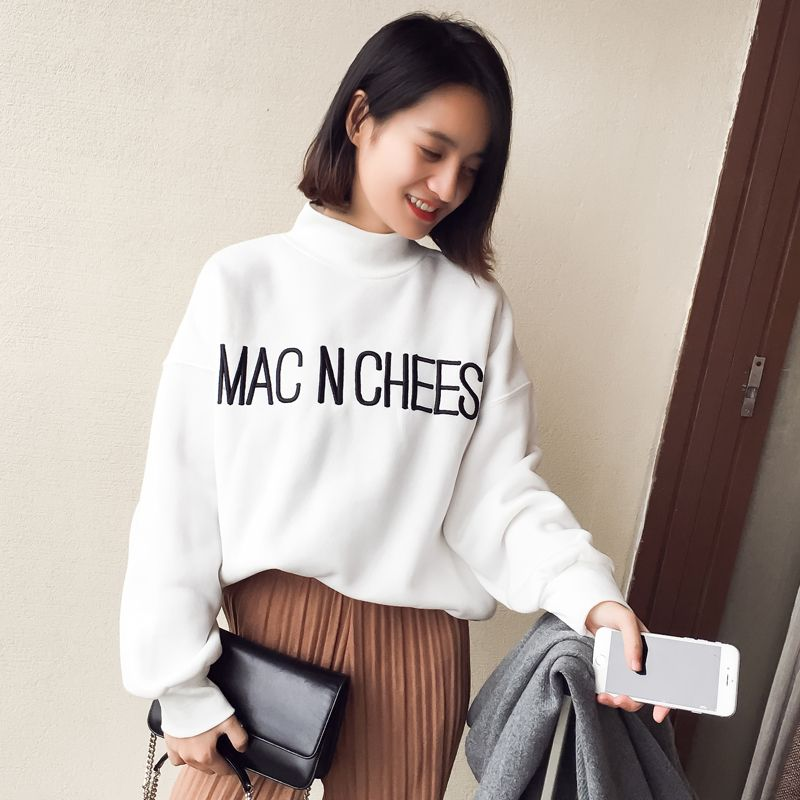 2017 New Fashion Autumn Women Long Sleeve Round Neck Pullovers Jumper Letter Embroider Sweatshirt Hoodies Casual Turtleneck Tops