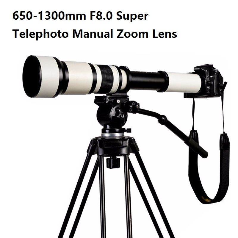 Lightdow 650-1300mm F8.0-F16 Super Telephoto Manual Zoom Lens+T2-Nikon for Nikon D3100 D3200 D5000 D5100 D5200 D7100 DSLR Camera
