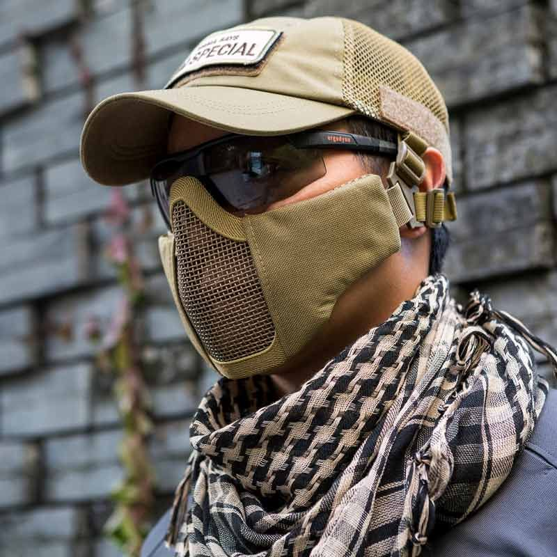 OneTigris tactique pliable demi masque facial masque de protection en maille pour Airsoft Paintball avec sangle de ceinture réglable et élastique