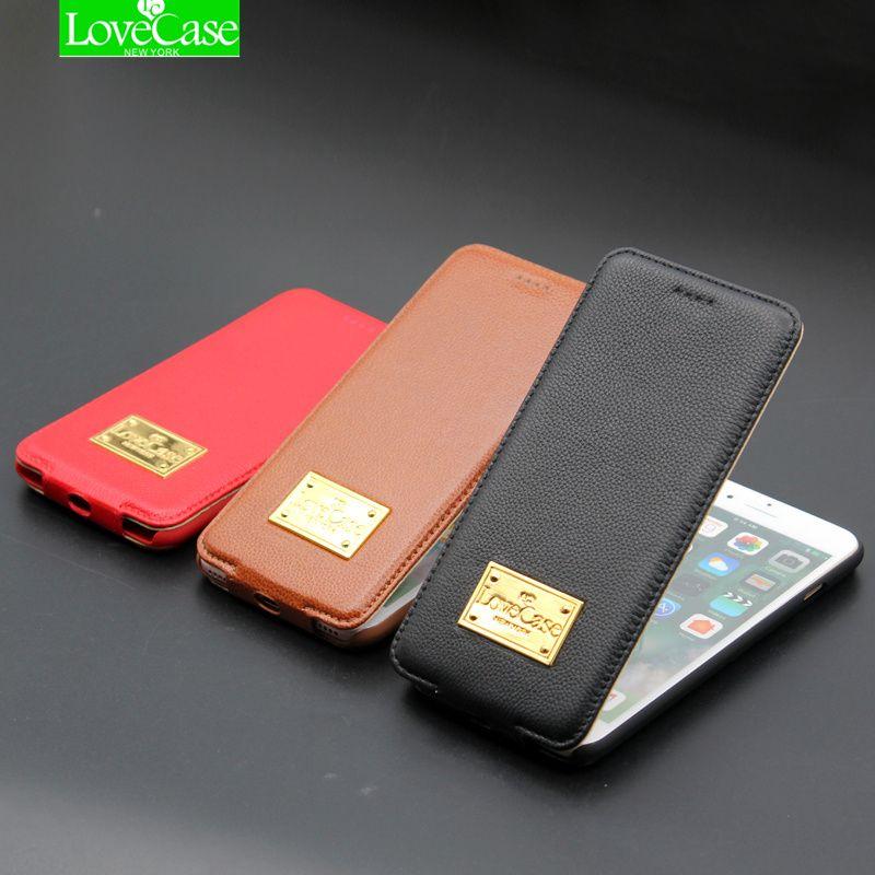 LoveCase cas i6 6 s Plus up and down Flip en cuir Véritable Cas de téléphone Pour iPhone 6/6 S 6/6 S Plus De Luxe Phone Housse cas