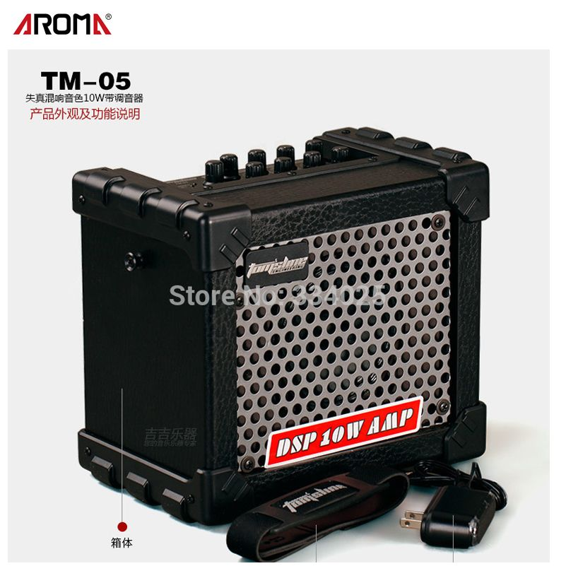 Aroma TM-05 10W Electric Guitar Amp Amplifier Speaker Built-in Tuner Tap Function Effect Volume Tone Control with Power Adapte