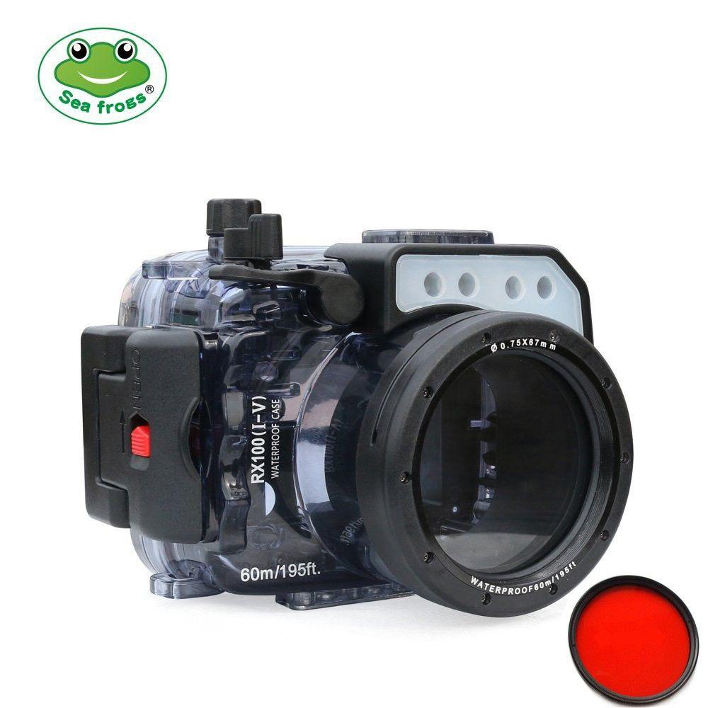 Seafrogs 60 mt/195ft Unterwasser Kamera Wasserdichte Gehäuse Fall Für Sony RX100/RX100 II/RX100 III/ RX100 IV/RX100 V + Rot Filter 67mm
