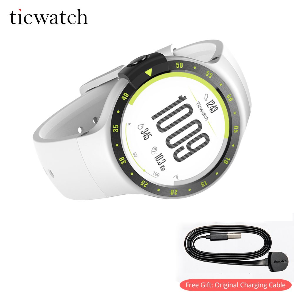 Ticwatch S Smart Watch Android Wear Bluetooth 4.1 WIFI GPS Heart Rate IP67 Water Resistant smartwatch with Free Charging Cable