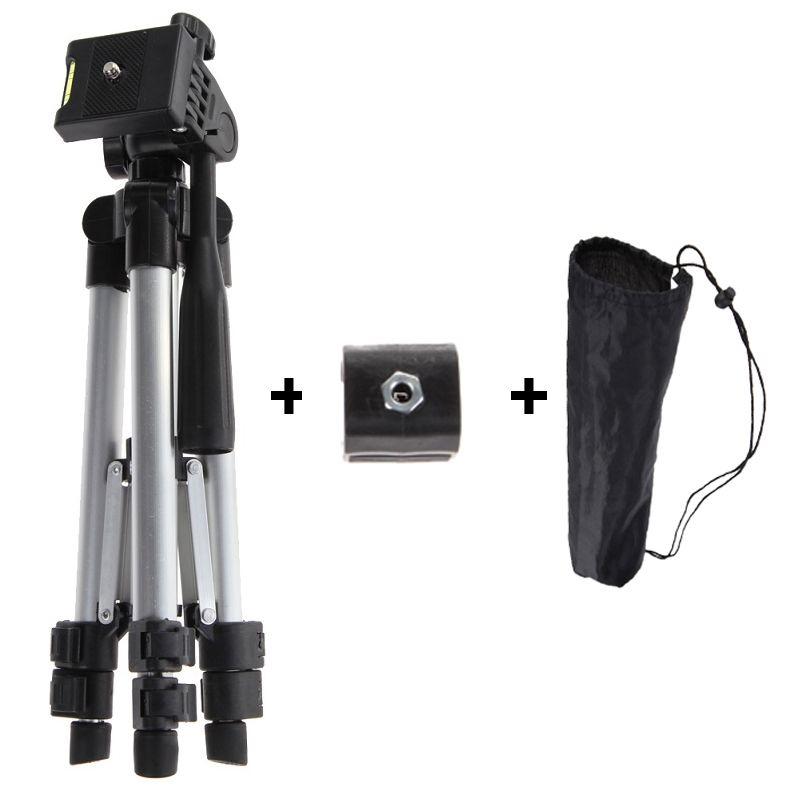 ALLOYSEED Professional Camera Tripod With Adjustable Handle Head Flashlight Clip Holder Tripod Universal For Phone DSLR Camera