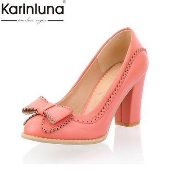 Karinluna/Большой размер 34-43 женские туфли-лодочки прелестные туфли с бантиком Винтажная обувь на широком высоком каблуке для вечеринки, свадьб...