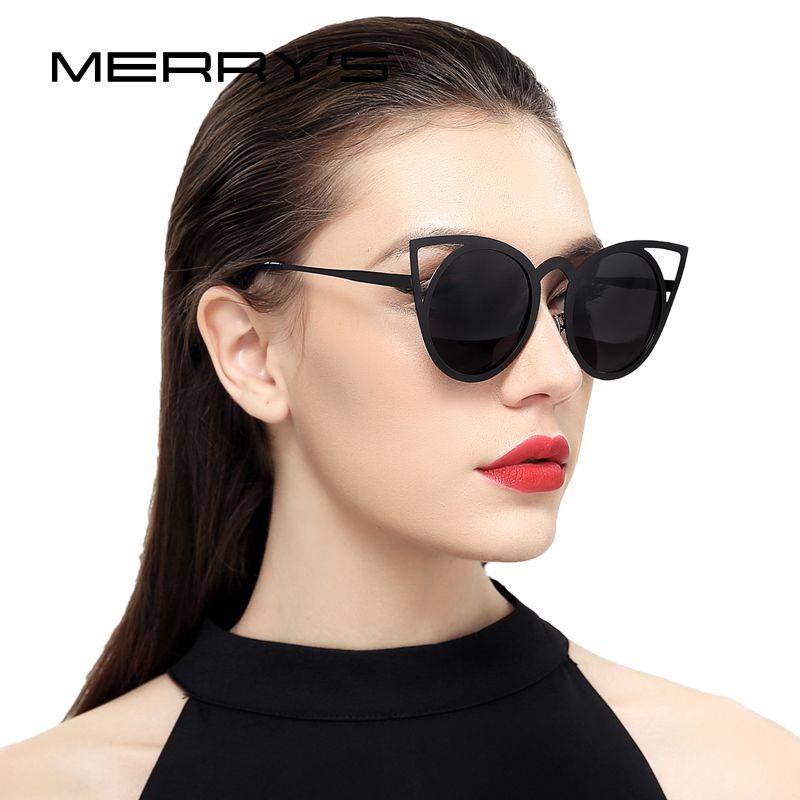 MERRY'S Frauen Katzenaugen-sonnenbrille Markendesigner Sonnenbrille Klassischen Farben Runden Rahmen S'8064