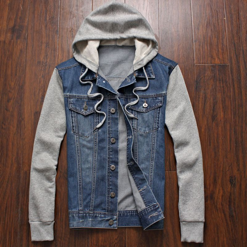 New shelves,the trend of men's fashion men's casual hooded denim jackets jackets ,Autumn Slim large size men's jackets M-4XL-5XL