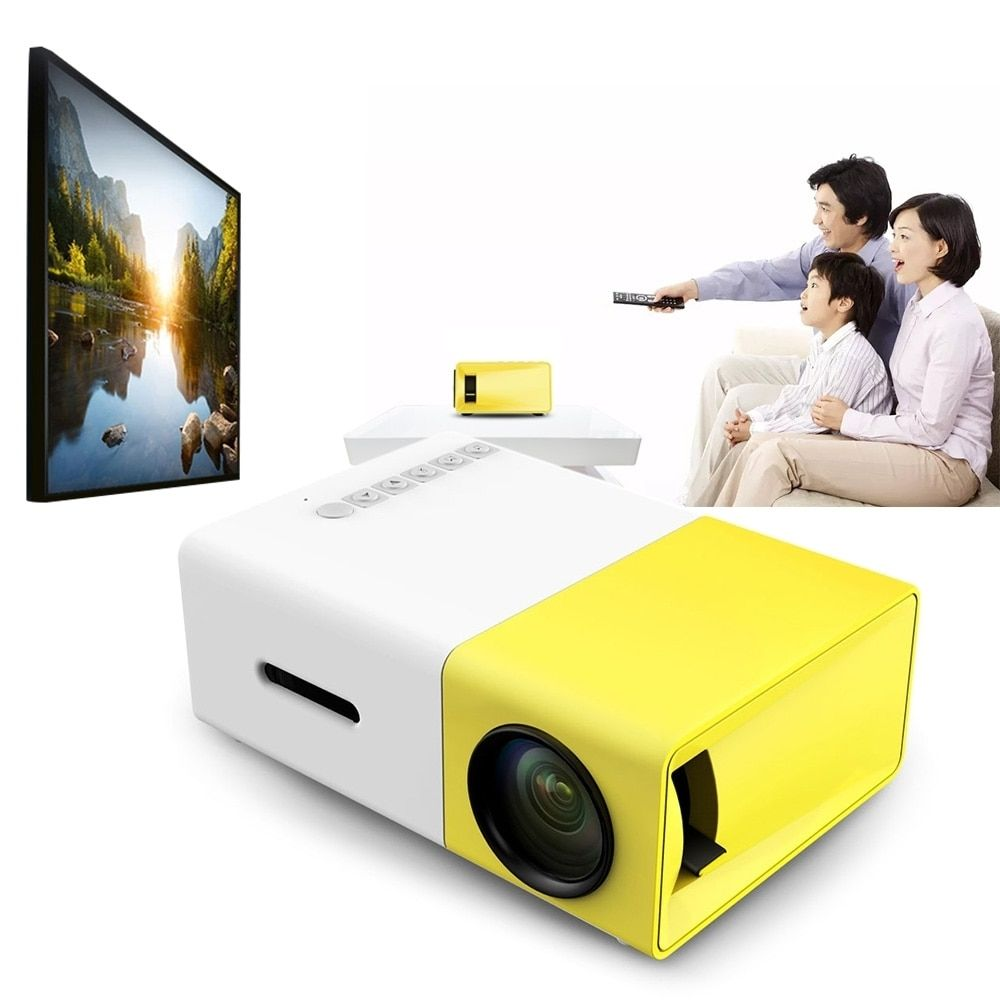 ViviBright YG300 Portable LCD Projector 500LM 3.5mm Audio 320x240 Pixel 1080P Mini Home Theater Projector with HDMI USB AV Input