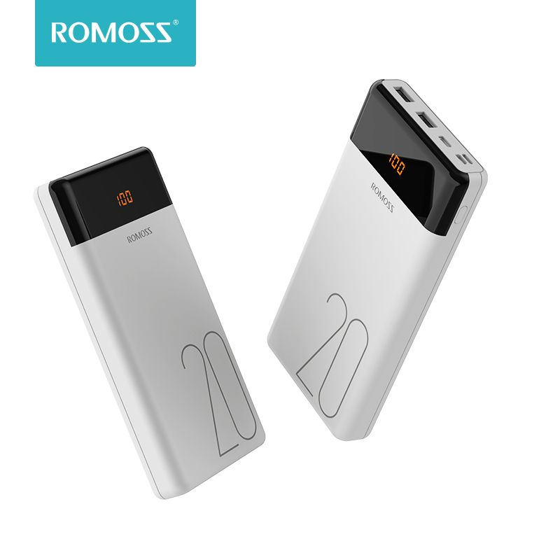 ROMOSS LT20 Power Bank 20000mAh Dual USB Portable Charger With LED Display Fast External Battery For Phones Tablet Xiaomi