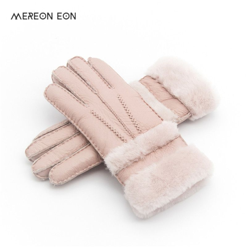 Special Women Warm Woolen Mittens Women Gloves Real Leather Wool Fur Gloves Lovely Girl Sheepskin Leather Gloves For Lady