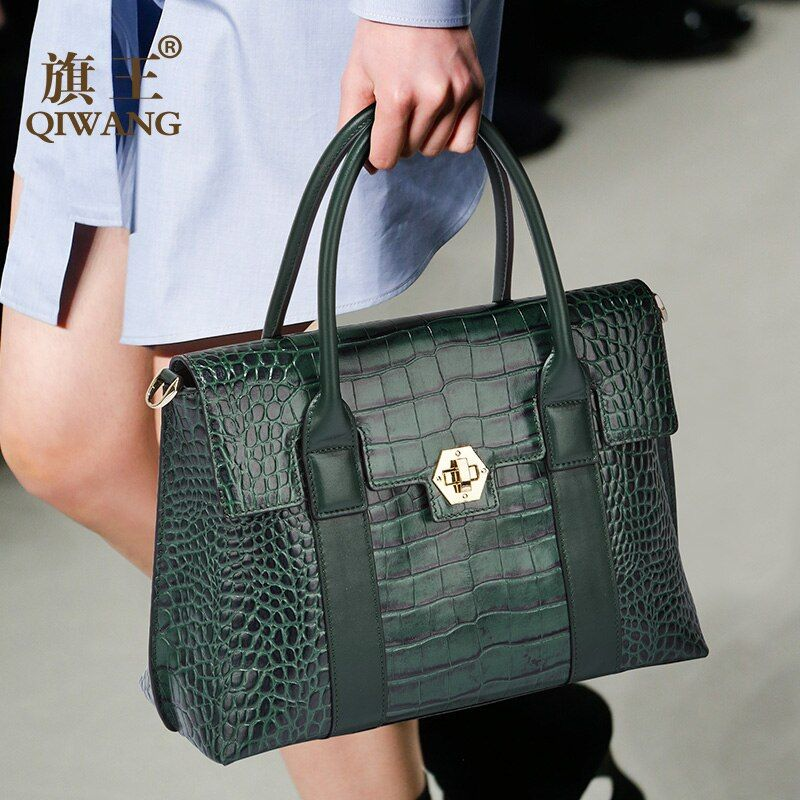Long Handle Green Tote Bags Fashion European Brand Designer Real Leather Women Handbags Genuine Leather Large Bags